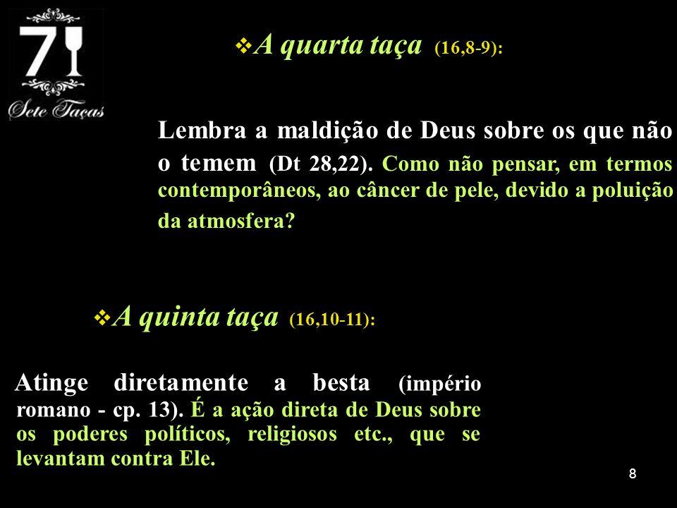 9 A sexta taça (16,12-16): Manifesta a oposição do diabo (dragão), de Roma (besta) e da máquina religiosa romana (falso profeta - em 19,20 ele é visto como aquele que faz com que as pessoas adorem a besta, mesmo papel da segunda besta em 13,12.15) contra Deus.