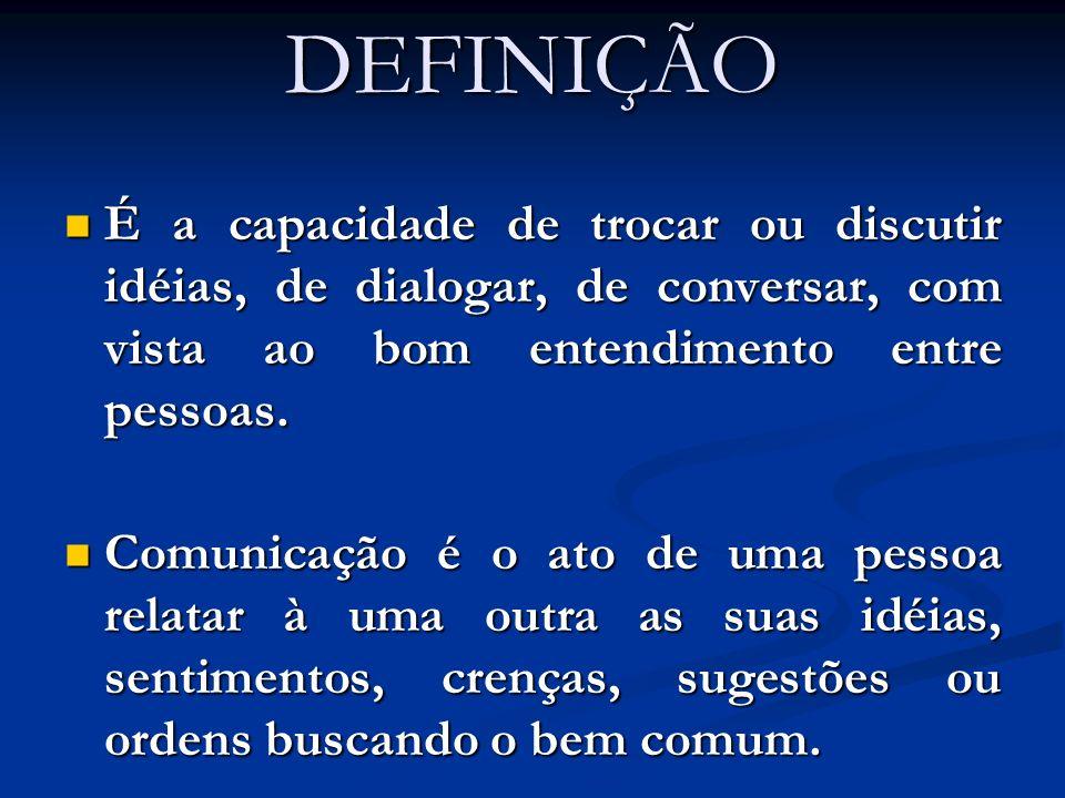 DEFINIÇÃO É a capacidade de trocar ou discutir idéias, de dialogar, de conversar, com vista ao bom entendimento entre pessoas. É a capacidade de troca