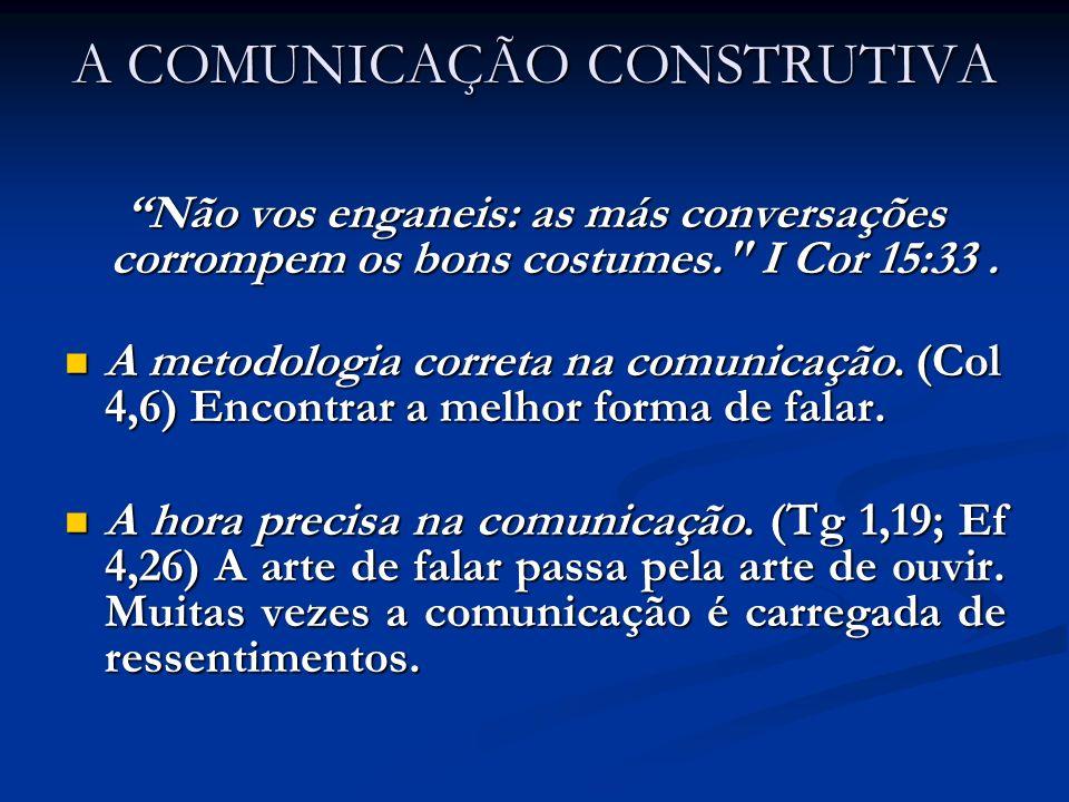 A COMUNICAÇÃO CONSTRUTIVA Não vos enganeis: as más conversações corrompem os bons costumes.