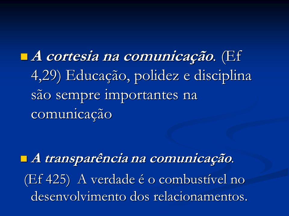 A cortesia na comunicação. (Ef 4,29) Educação, polidez e disciplina são sempre importantes na comunicação A cortesia na comunicação. (Ef 4,29) Educaçã