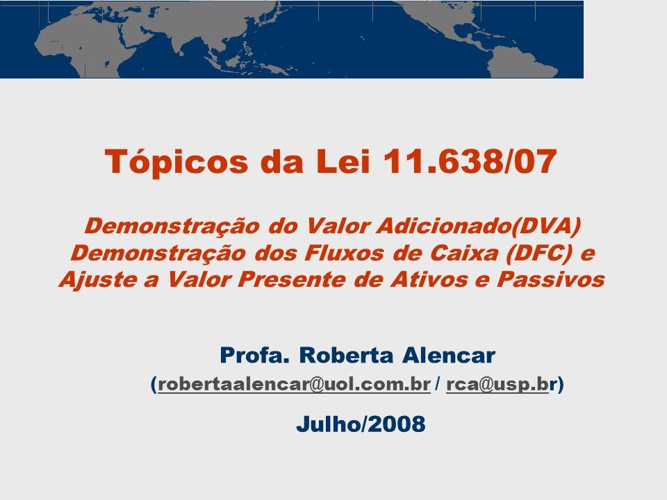 Tópicos da Lei 11.638/07 Demonstração do Valor Adicionado(DVA) Demonstração dos Fluxos de Caixa (DFC) e Ajuste a Valor Presente de Ativos e Passivos P