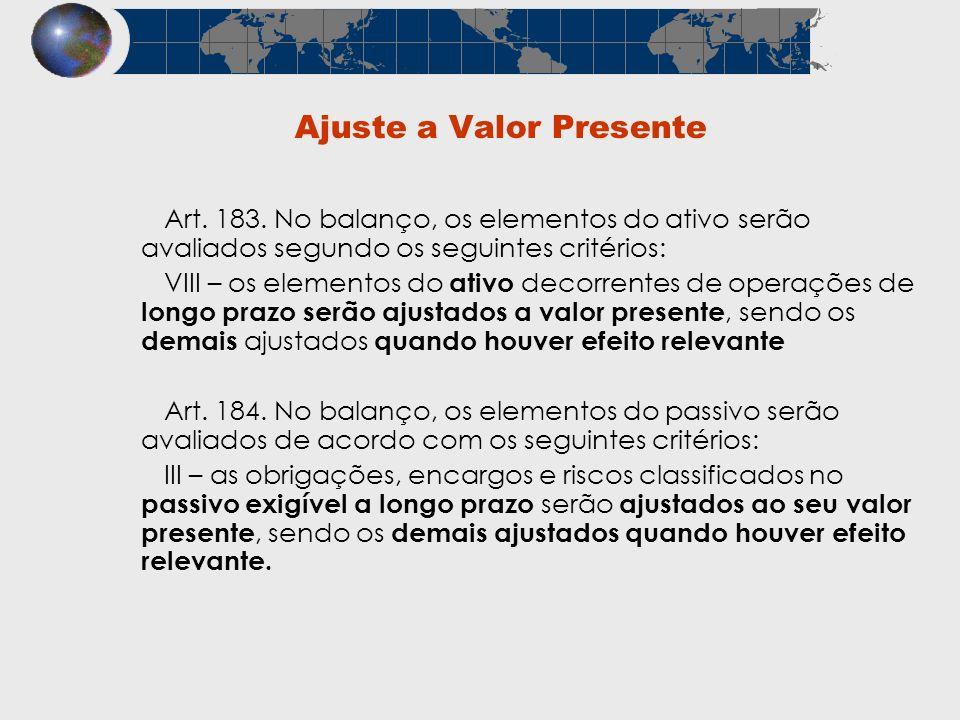 Ajuste a Valor Presente Art. 183. No balanço, os elementos do ativo serão avaliados segundo os seguintes critérios: VIII – os elementos do ativo decor