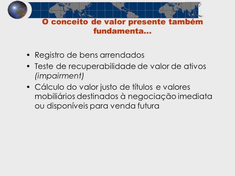 O conceito de valor presente também fundamenta... Registro de bens arrendados Teste de recuperabilidade de valor de ativos (impairment) Cálculo do val