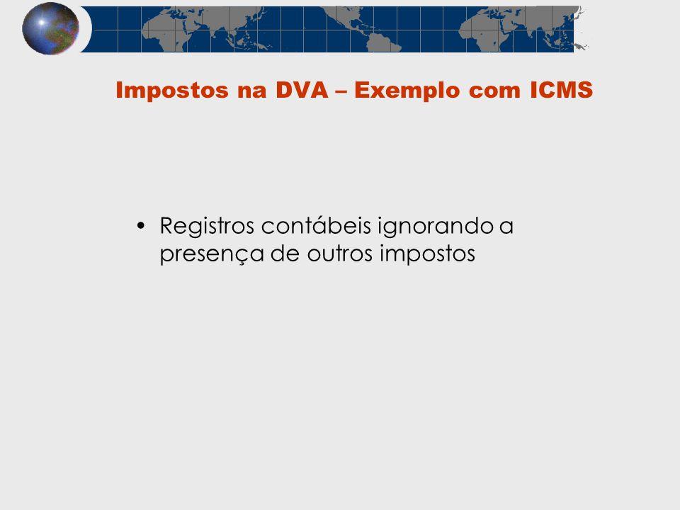Registros contábeis ignorando a presença de outros impostos Impostos na DVA – Exemplo com ICMS