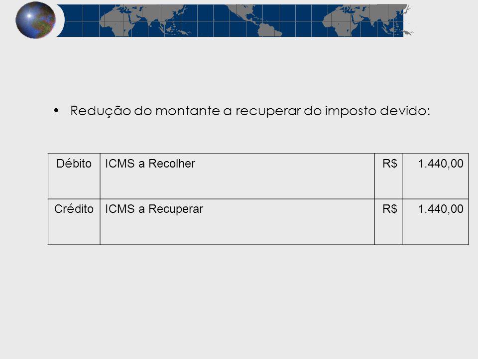 Redução do montante a recuperar do imposto devido: D é bito ICMS a RecolherR$1.440,00 Cr é dito ICMS a RecuperarR$1.440,00