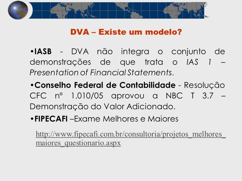DVA – Existe um modelo? IASB - DVA não integra o conjunto de demonstrações de que trata o IAS 1 – Presentation of Financial Statements. Conselho Feder