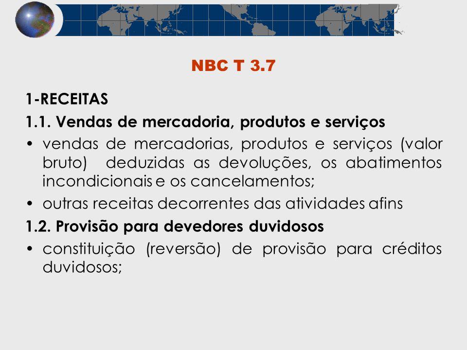NBC T 3.7 1-RECEITAS 1.1. Vendas de mercadoria, produtos e serviços vendas de mercadorias, produtos e serviços (valor bruto) deduzidas as devoluções,