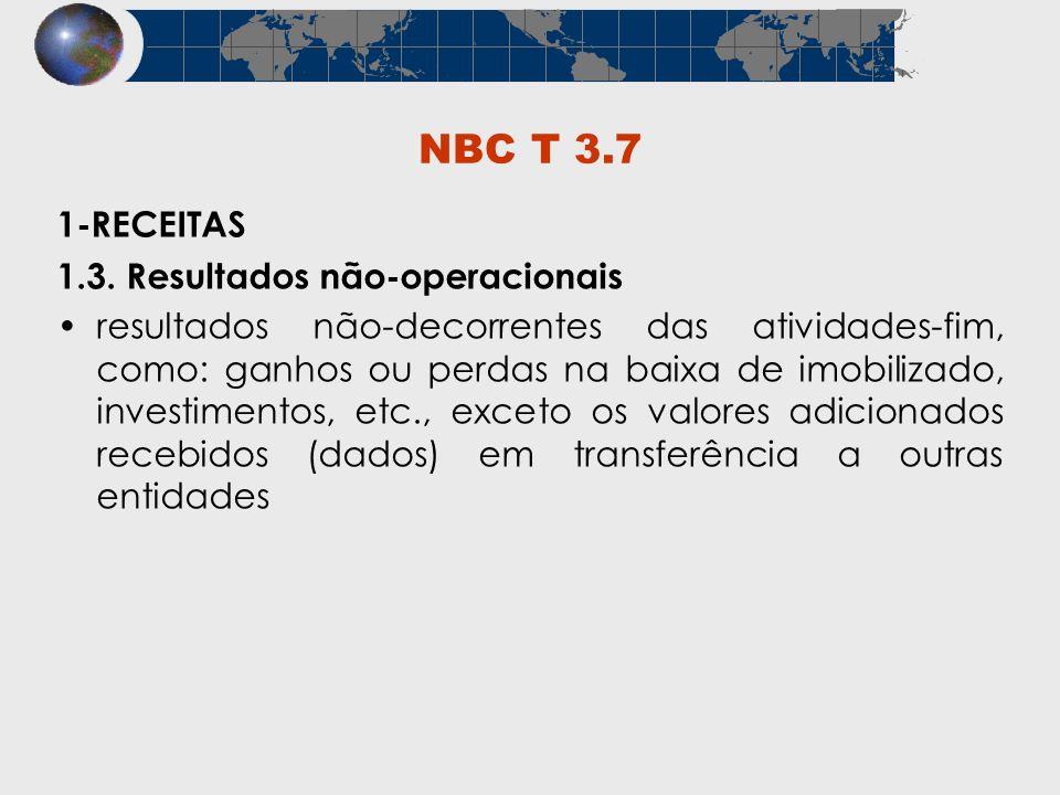 NBC T 3.7 1-RECEITAS 1.3. Resultados não-operacionais resultados não-decorrentes das atividades-fim, como: ganhos ou perdas na baixa de imobilizado, i