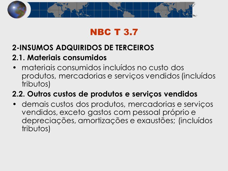 NBC T 3.7 2-INSUMOS ADQUIRIDOS DE TERCEIROS 2.1. Materiais consumidos materiais consumidos incluídos no custo dos produtos, mercadorias e serviços ven