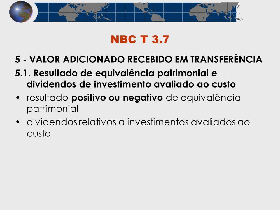 NBC T 3.7 5 - VALOR ADICIONADO RECEBIDO EM TRANSFERÊNCIA 5.1. Resultado de equivalência patrimonial e dividendos de investimento avaliado ao custo res
