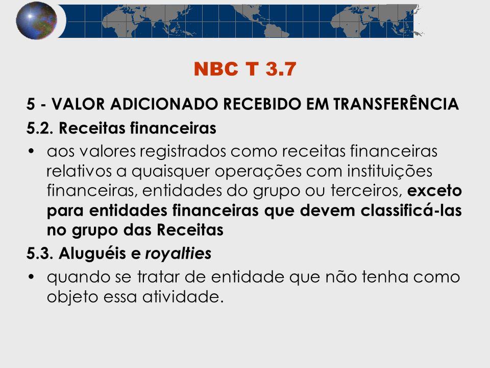 NBC T 3.7 5 - VALOR ADICIONADO RECEBIDO EM TRANSFERÊNCIA 5.2. Receitas financeiras aos valores registrados como receitas financeiras relativos a quais