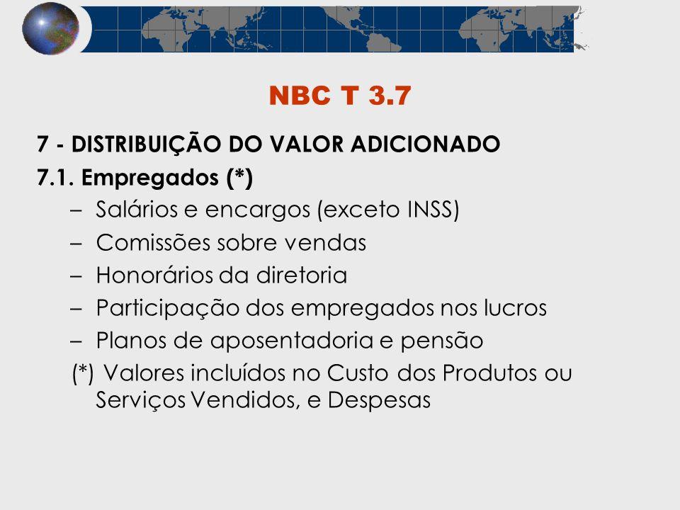 NBC T 3.7 7 - DISTRIBUIÇÃO DO VALOR ADICIONADO 7.1. Empregados (*) –Salários e encargos (exceto INSS) –Comissões sobre vendas –Honorários da diretoria