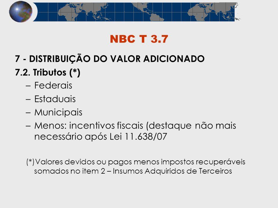 NBC T 3.7 7 - DISTRIBUIÇÃO DO VALOR ADICIONADO 7.2. Tributos (*) –Federais –Estaduais –Municipais –Menos: incentivos fiscais (destaque não mais necess