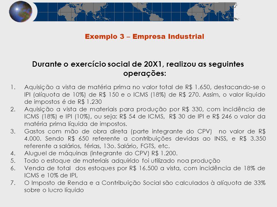 Exemplo 3 – Empresa Industrial Durante o exercício social de 20X1, realizou as seguintes operações: 1.Aquisição a vista de matéria prima no valor tota