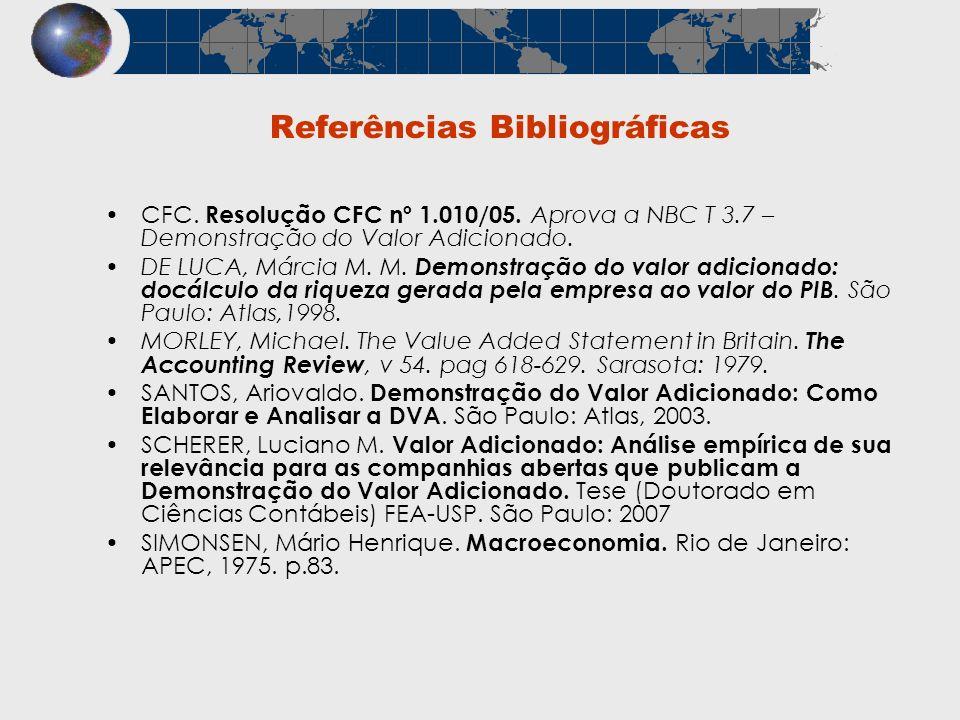 Referências Bibliográficas CFC. Resolução CFC nº 1.010/05. Aprova a NBC T 3.7 – Demonstração do Valor Adicionado. DE LUCA, Márcia M. M. Demonstração d