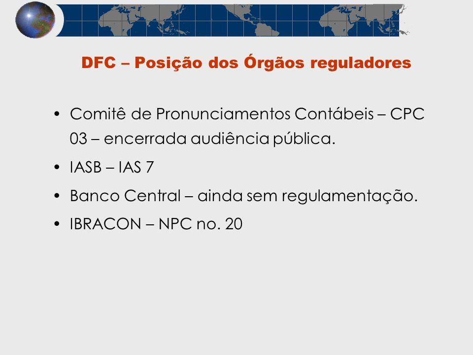 Comitê de Pronunciamentos Contábeis – CPC 03 – encerrada audiência pública. IASB – IAS 7 Banco Central – ainda sem regulamentação. IBRACON – NPC no. 2