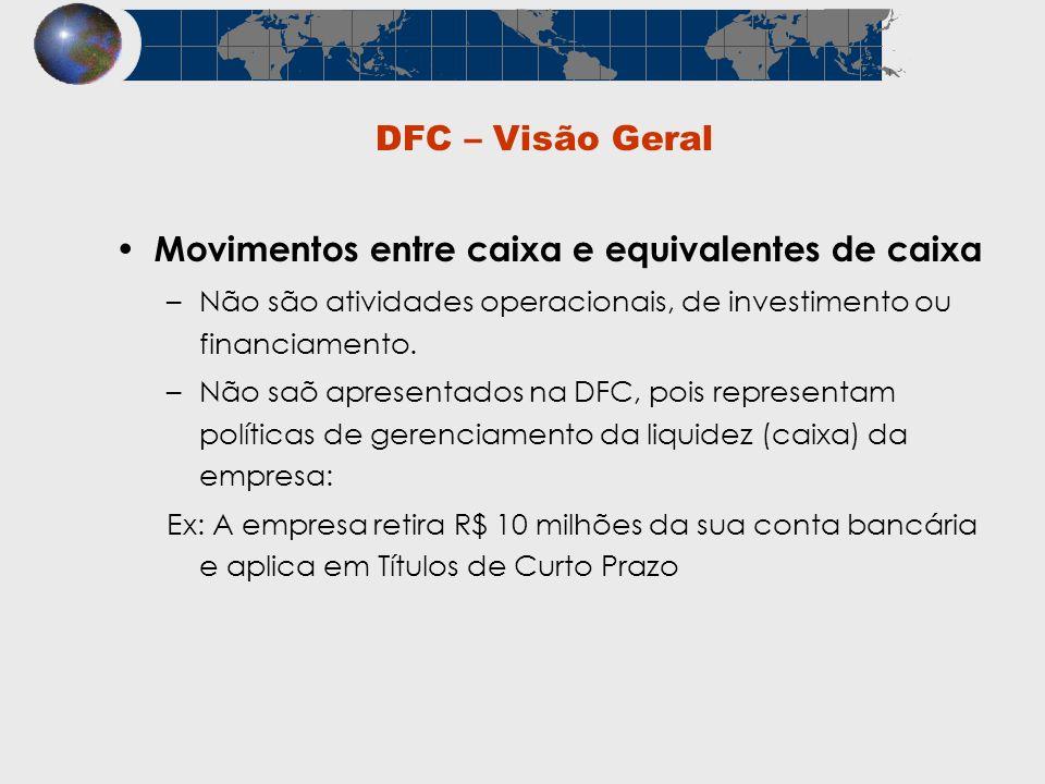 DFC – Visão Geral Movimentos entre caixa e equivalentes de caixa –Não são atividades operacionais, de investimento ou financiamento. –Não saõ apresent