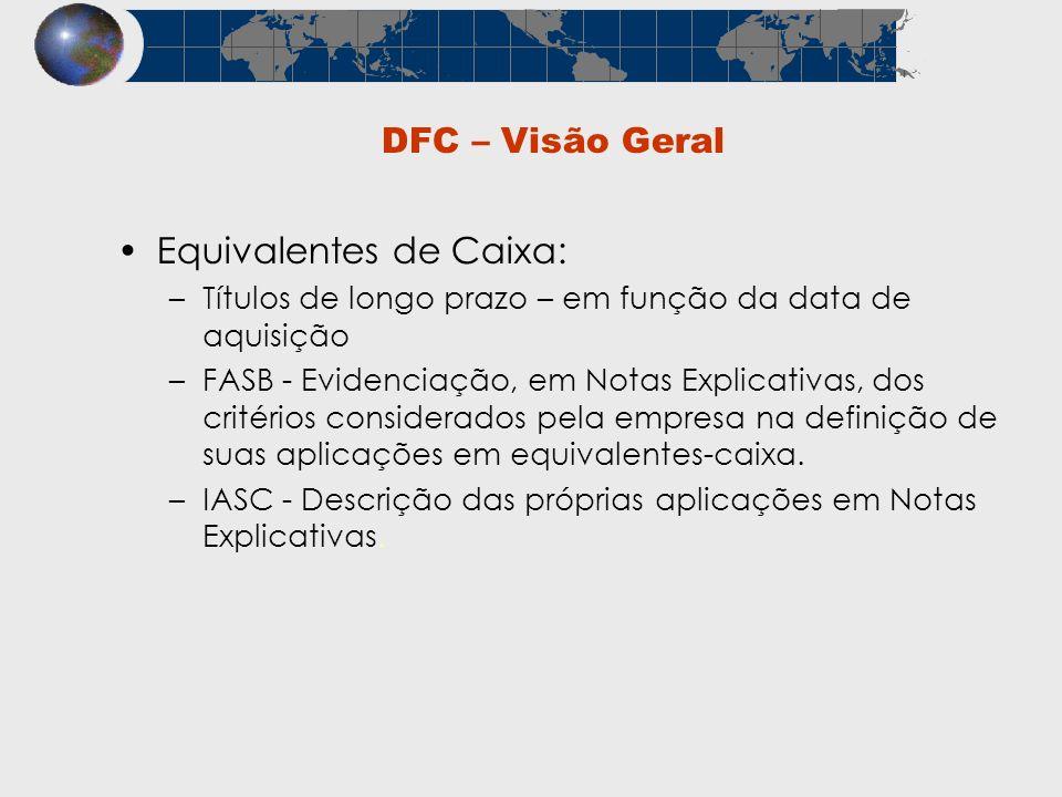 DFC – Visão Geral Equivalentes de Caixa: –Títulos de longo prazo – em função da data de aquisição –FASB - Evidenciação, em Notas Explicativas, dos cri