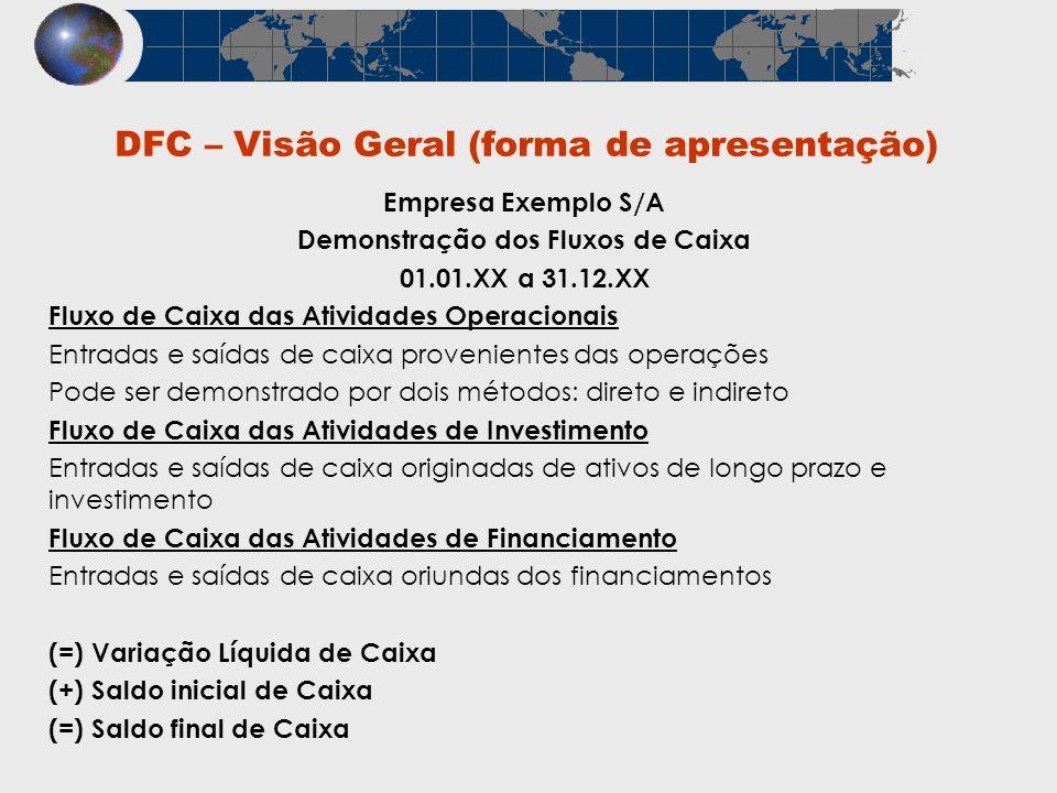 DFC – Visão Geral (forma de apresentação) Empresa Exemplo S/A Demonstração dos Fluxos de Caixa 01.01.XX a 31.12.XX Fluxo de Caixa das Atividades Opera