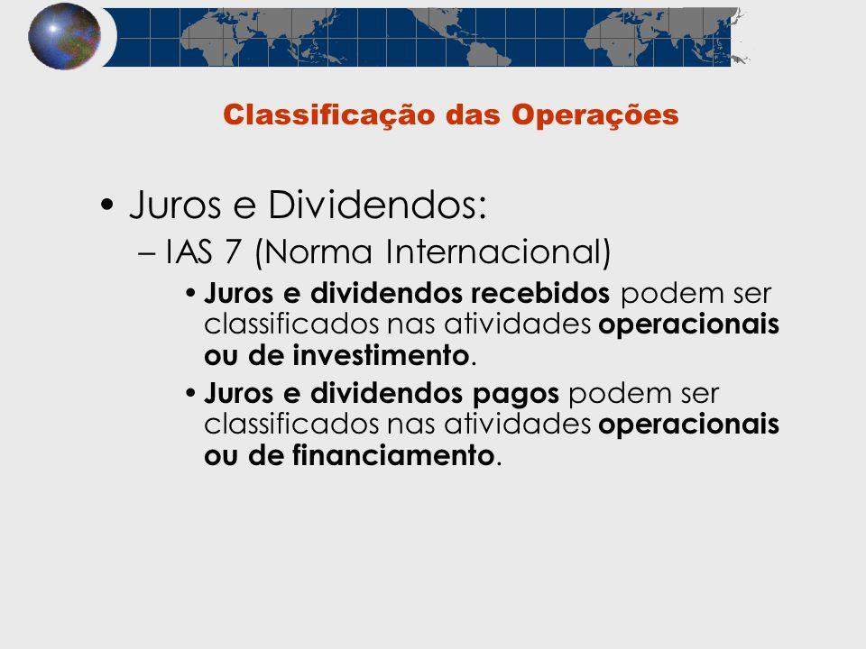 Classificação das Operações Juros e Dividendos: –IAS 7 (Norma Internacional) Juros e dividendos recebidos podem ser classificados nas atividades opera