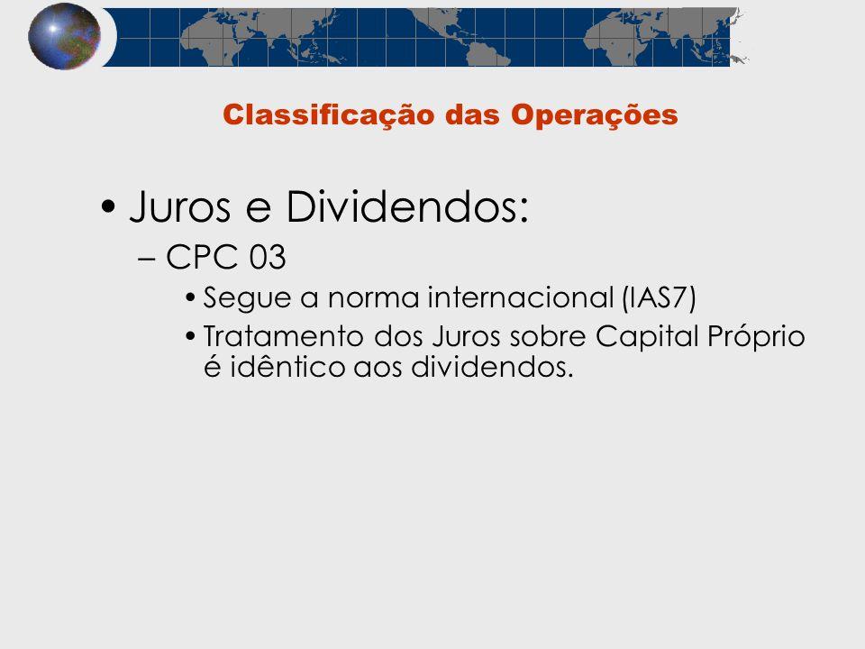 Classificação das Operações Juros e Dividendos: –CPC 03 Segue a norma internacional (IAS7) Tratamento dos Juros sobre Capital Próprio é idêntico aos d