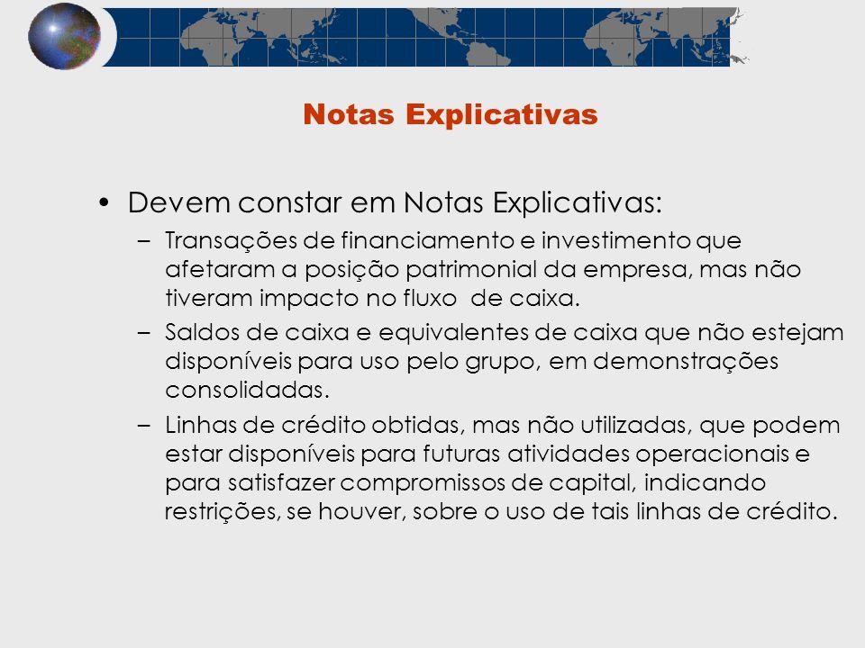 Notas Explicativas Devem constar em Notas Explicativas: –Transações de financiamento e investimento que afetaram a posição patrimonial da empresa, mas