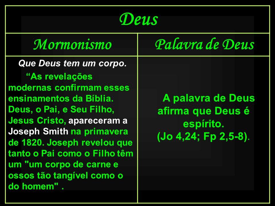 Deus MormonismoPalavra de Deus Que Deus tem um corpo. As revelações modernas confirmam esses ensinamentos da Bíblia. Deus, o Pai, e Seu Filho, Jesus C