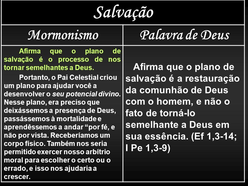Salvação MormonismoPalavra de Deus Afirma que o plano de salvação é o processo de nos tornar semelhantes a Deus. Portanto, o Pai Celestial criou um pl