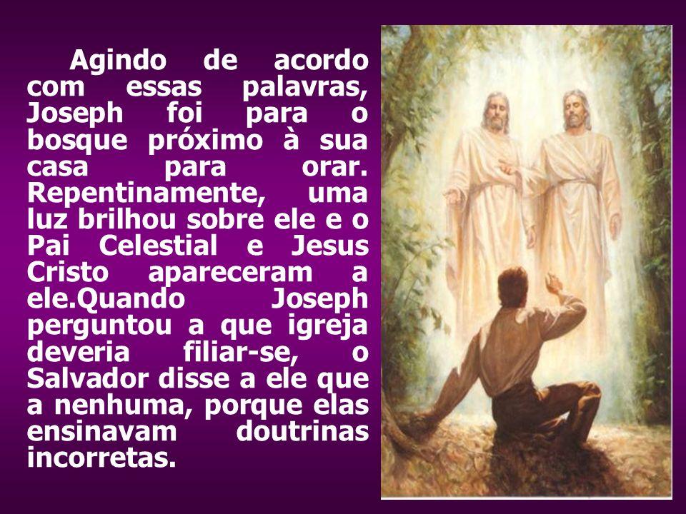 Agindo de acordo com essas palavras, Joseph foi para o bosque próximo à sua casa para orar. Repentinamente, uma luz brilhou sobre ele e o Pai Celestia
