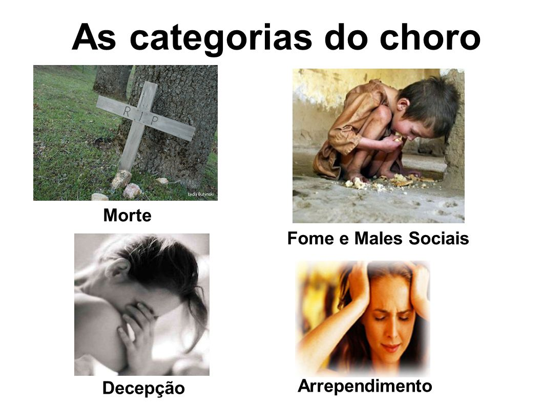 As categorias do choro Morte Fome e Males Sociais Decepção Arrependimento