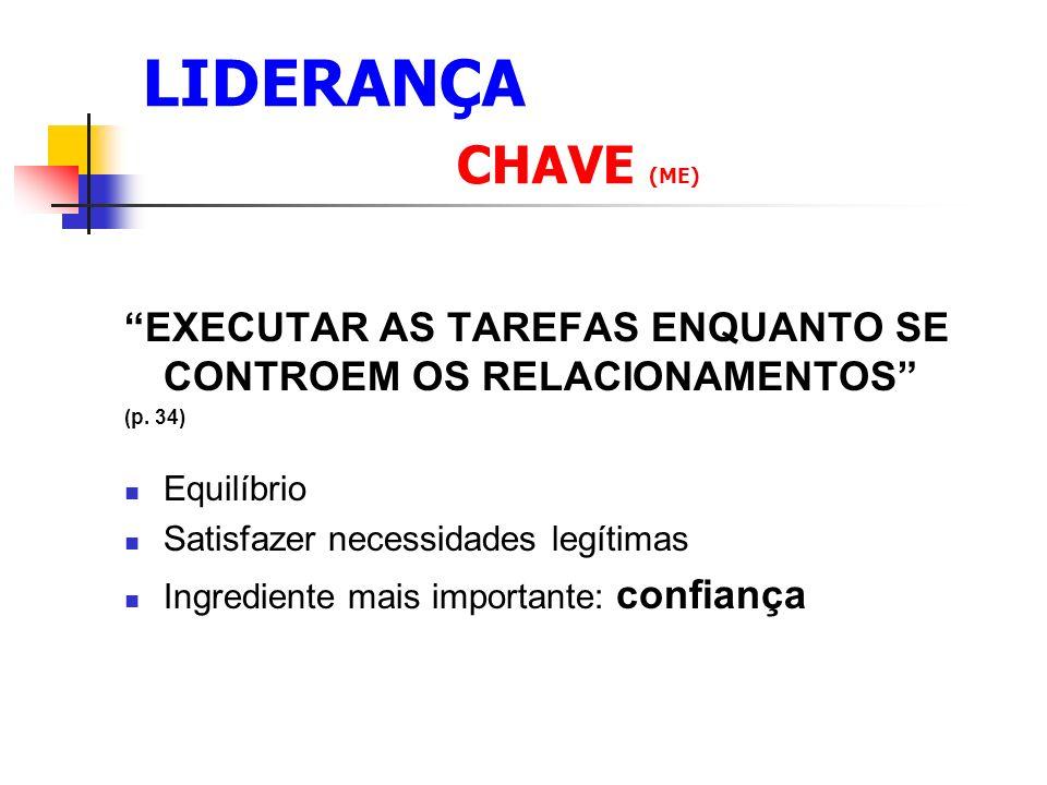 LIDERANÇA CHAVE (ME) EXECUTAR AS TAREFAS ENQUANTO SE CONTROEM OS RELACIONAMENTOS (p.