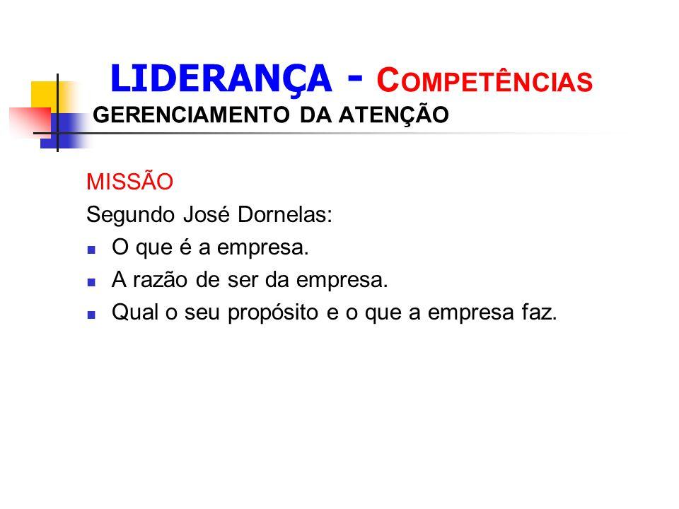 LIDERANÇA - C OMPETÊNCIAS GERENCIAMENTO DA ATENÇÃO MISSÃO Segundo José Dornelas: O que é a empresa.