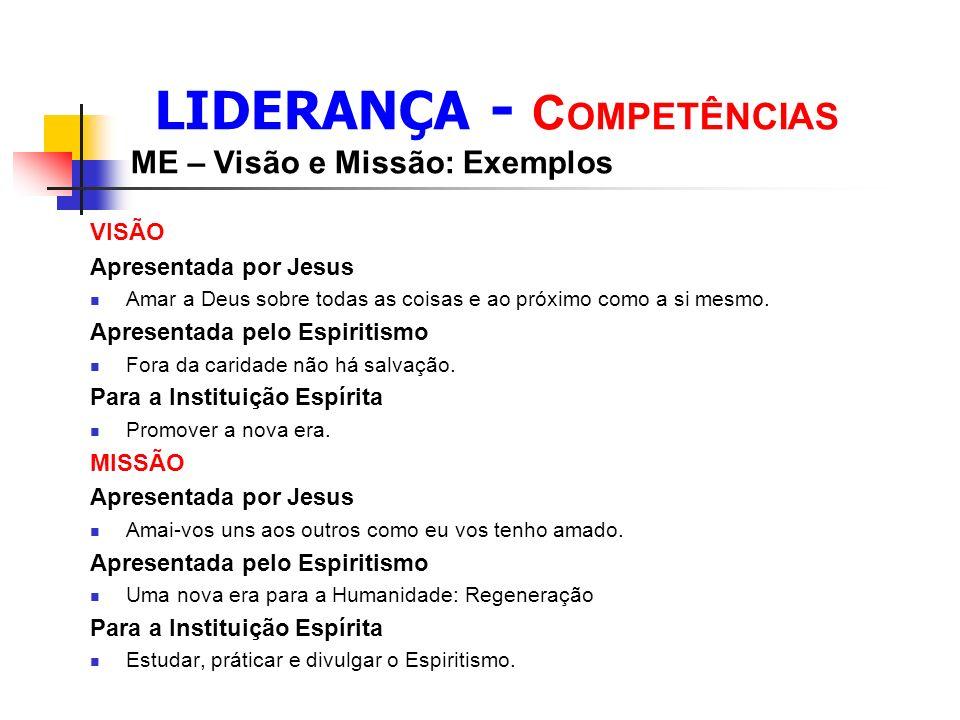 LIDERANÇA - C OMPETÊNCIAS ME – Visão e Missão: Exemplos VISÃO Apresentada por Jesus Amar a Deus sobre todas as coisas e ao próximo como a si mesmo.