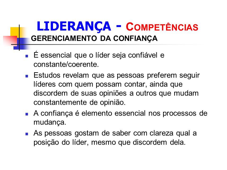 LIDERANÇA - C OMPETÊNCIAS GERENCIAMENTO DA CONFIANÇA É essencial que o líder seja confiável e constante/coerente.