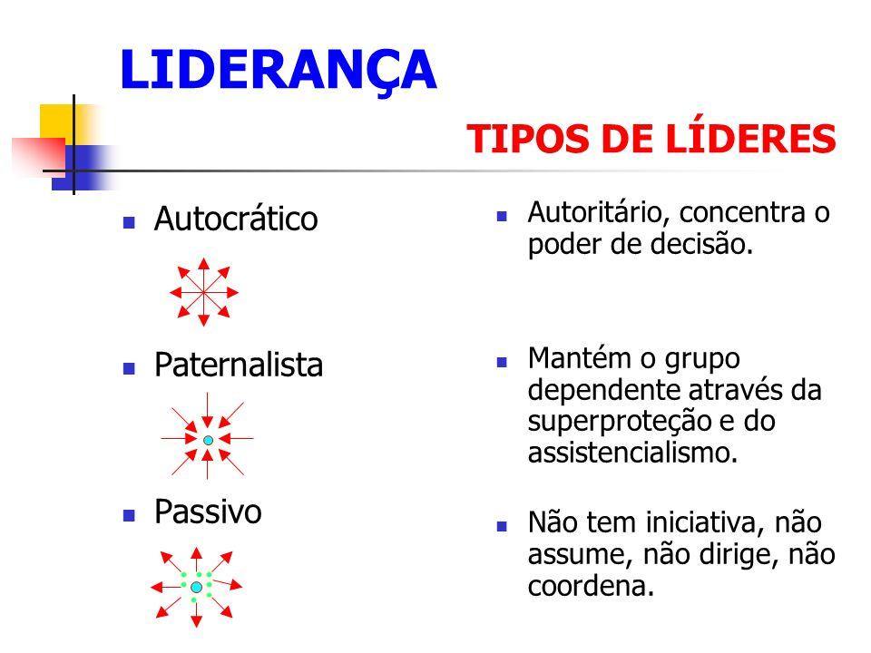 LIDERANÇA TIPOS DE LÍDERES Autocrático Paternalista Passivo Autoritário, concentra o poder de decisão.