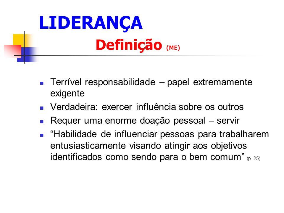 LIDERANÇA O papel do líder é servir.(ME p. 50) Que significa.