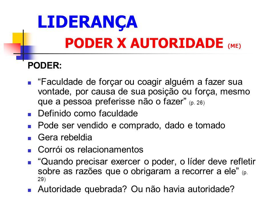 LIDERANÇA C ONSEQÜÊNCIAS DAS 4 COMPETÊNCIAS 1.