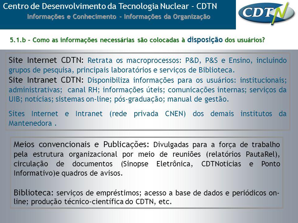5.1.b – Como as informações necessárias são colocadas à disposição dos usuários? Centro de Desenvolvimento da Tecnologia Nuclear - CDTN Informações e