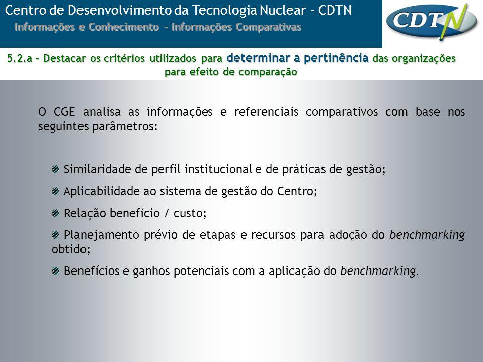 O CGE analisa as informações e referenciais comparativos com base nos seguintes parâmetros: Similaridade de perfil institucional e de práticas de gest