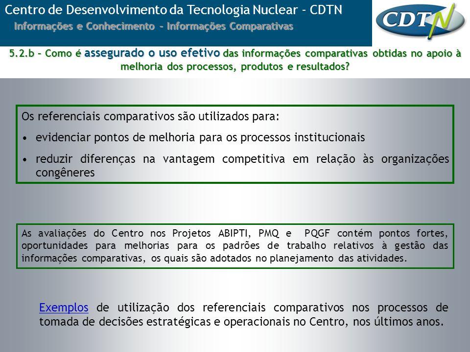 ExemplosExemplos de utilização dos referenciais comparativos nos processos de tomada de decisões estratégicas e operacionais no Centro, nos últimos an