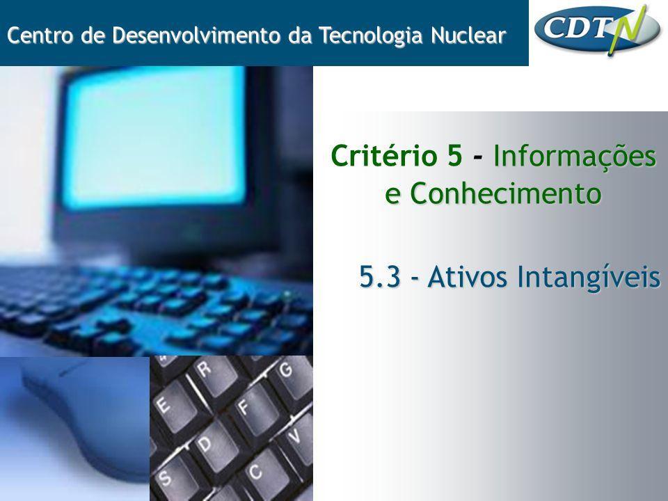 Informações e Conhecimento Critério 5 - Informações e Conhecimento Centro de Desenvolvimento da Tecnologia Nuclear 5.3 - Ativos Intangíveis