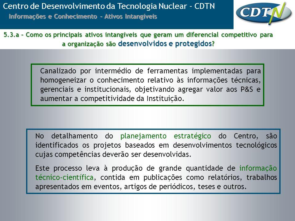 No detalhamento do planejamento estratégico do Centro, são identificados os projetos baseados em desenvolvimentos tecnológicos cujas competências deve