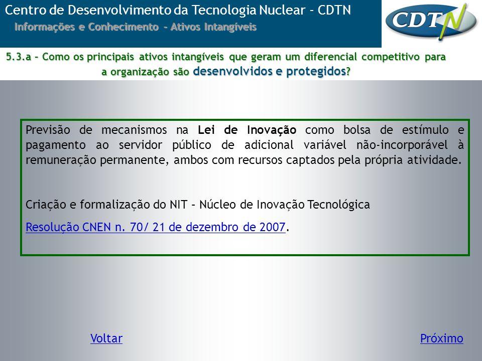 Centro de Desenvolvimento da Tecnologia Nuclear - CDTN Informações e Conhecimento - Ativos Intangíveis Previsão de mecanismos na Lei de Inovação como