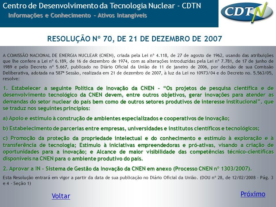 Centro de Desenvolvimento da Tecnologia Nuclear - CDTN Informações e Conhecimento - Ativos Intangíveis A COMISSÃO NACIONAL DE ENERGIA NUCLEAR (CNEN),
