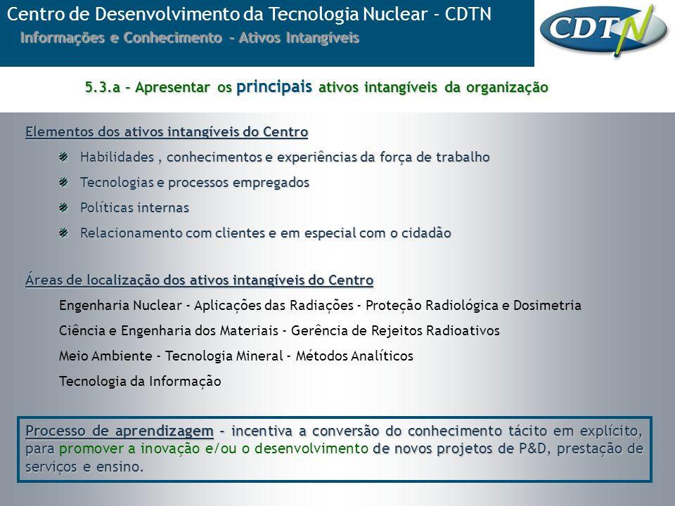 Informações e Conhecimento - Ativos Intangíveis Elementos dos ativos intangíveis do Centro Habilidades, conhecimentos e experiências da força de traba