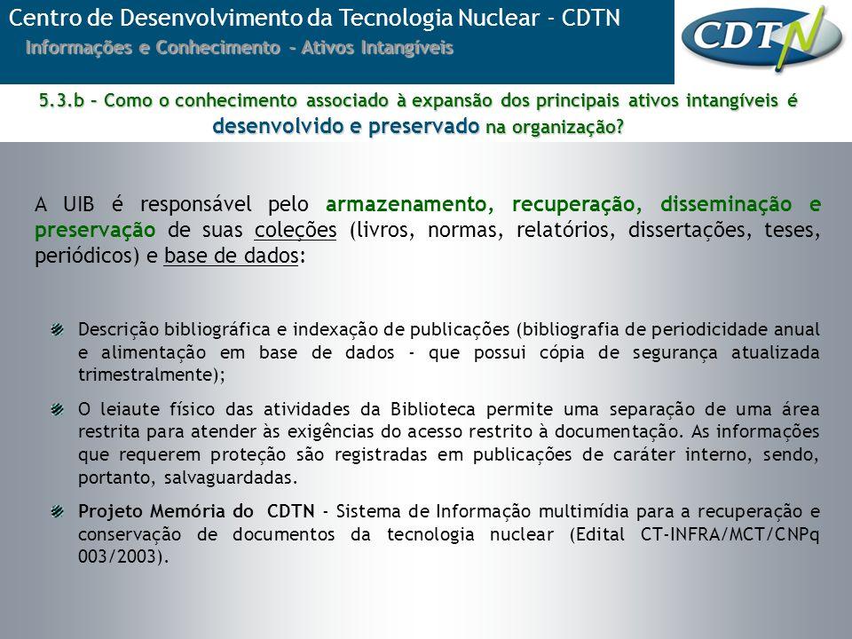 Centro de Desenvolvimento da Tecnologia Nuclear - CDTN Informações e Conhecimento - Ativos Intangíveis A UIB é responsável pelo armazenamento, recuper