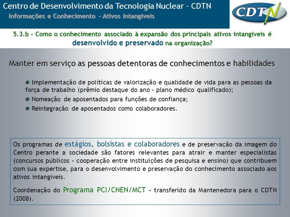 Centro de Desenvolvimento da Tecnologia Nuclear - CDTN Informações e Conhecimento - Ativos Intangíveis Implementação de políticas de valorização e qua