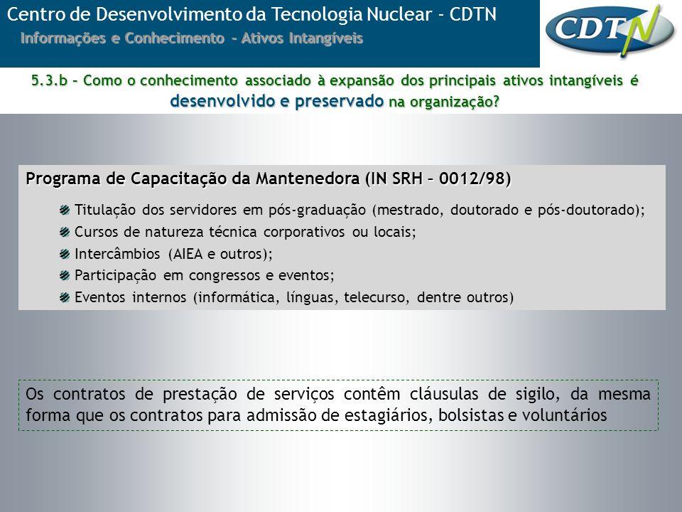 Centro de Desenvolvimento da Tecnologia Nuclear - CDTN Informações e Conhecimento - Ativos Intangíveis Os contratos de prestação de serviços contêm cl