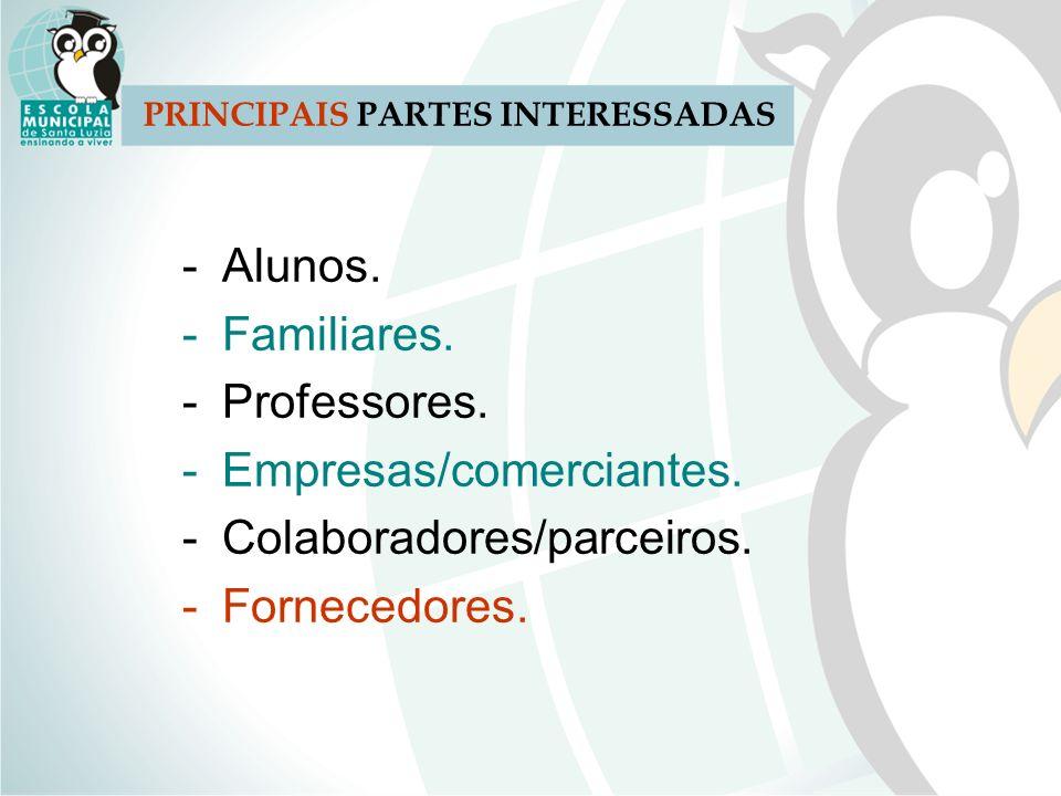 PRINCIPAIS PARTES INTERESSADAS -Alunos. -Familiares. -Professores. -Empresas/comerciantes. -Colaboradores/parceiros. -Fornecedores.