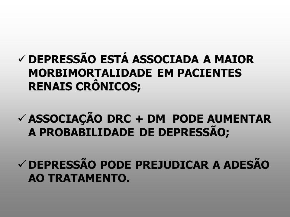 DEPRESSÃO ESTÁ ASSOCIADA A MAIOR MORBIMORTALIDADE EM PACIENTES RENAIS CRÔNICOS; ASSOCIAÇÃO DRC + DM PODE AUMENTAR A PROBABILIDADE DE DEPRESSÃO; DEPRES